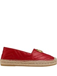 Gucci Chevron Quilted Espadrilles Red