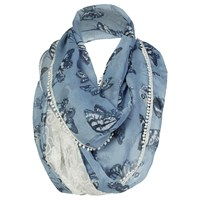 Fat Face Painterly Butterfly Lace Snood Slate Blue