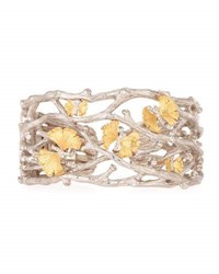 Michael Aram Butterfly Gingko 18K And Sterling Silver Cuff With Diamonds