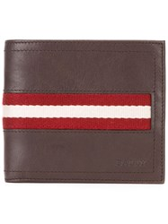 Bally Tollent Stripe Panel Wallet Brown