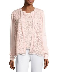 Joan Vass Lace Front Cardigan Light Pink Petite Blush