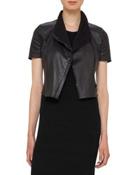 Akris Punto Leather Short Sleeve Cropped Biker Jacket Black