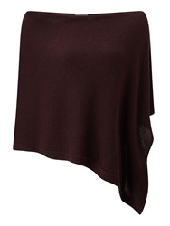 Jigsaw Knitted Ribbed Border Poncho Purple
