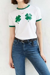 Truly Madly Deeply Four Leaf Clovers Ringer Tee Ivory