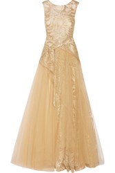 Mikael Aghal Layered Embroidered Tulle Gown Gold