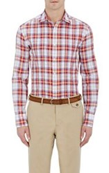Michael Bastian Men's Plaid Pleated Shirt Red