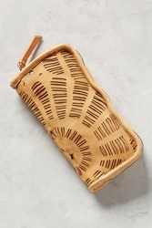 Anthropologie Perforated Spiral Wallet Sand