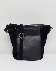 Accessorize Skylar Leather And Suede Bucket Bag Black
