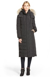 Mackage Long Down Coat With Genuine Coyote Fur And Shearling Trim Black