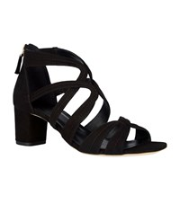 Sandro Suede Multi Strap Sandals Black