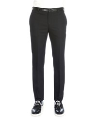 Givenchy Flat Front Trousers With Leather Waist Black