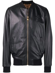 Billionaire Logo Embossed Bomber Jacket Black