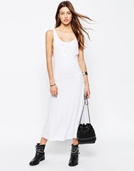 Asos Trapeze Midi Dress In Rib White