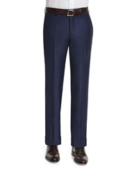 Neiman Marcus Classic Flat Front Wool Trousers Navy