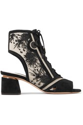 Nicholas Kirkwood Phoenix Cutout Embroidered Mesh And Suede Sandals Black