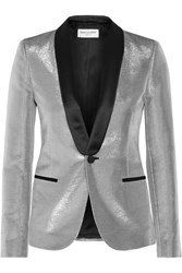 Saint Laurent Satin Trimmed Lame Tuxedo Blazer Silver