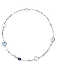 Judith Ripka Prism White Sapphire Blue Corundum Blue Quartz And Sterling Silver Doublet Necklace