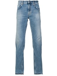 Department 5 Distressed Straight Leg Jeans Blue