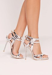 Missguided Double Ankle Strap Barely There Heeled Sandals Silver