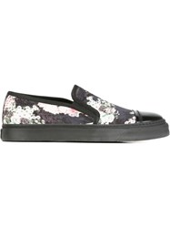 Marc Jacobs Floral Print Slip On Sneakers Black