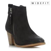 Dune W Pontoon Stacked Heel Ankle Boots Black