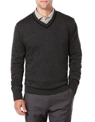 Perry Ellis Knit V Neck Sweater Charcoal