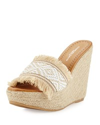 Charles David Dana Fringe Wedge Sandal White