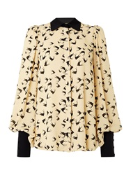 Biba Collar Detail Printed Volume Blouse Ivory