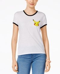 Mighty Fine Juniors' Pikachu Graphic Ringer T Shirt White
