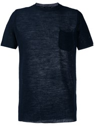 Roberto Collina Perforated Detail T Shirt Blue