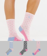 Penguin 3 Pack Sock Gift Box In Pink And Grey Multi