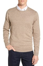 Nordstrom Men's Big And Tall Men's Shop Cotton And Cashmere Crewneck Sweater Tan Kelp Jaspe
