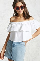 Forever 21 Off The Shoulder Flounce Top White