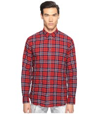 Dsquared Check Cotton Relaxed Dan Button Up Red Blue