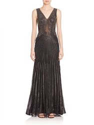 Alberto Makali Embellished Mermaid Gown Black Silver