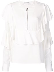 Each X Other Zip Front Ruffled Blouse White