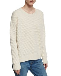 Vince Crewneck Honeycomb Knit Sweater Winter White