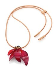 Marni Horn And Leather Pendant Necklace Black Cherry