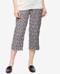 A Pea In The Pod Maternity Lace Cropped Pants Gray White