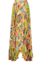 Alice Olivia Shannon Printed Crinkled Chiffon Maxi Skirt Yellow