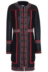 Talitha Embroidered Shearling Coat Black