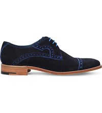 Barker Opollo Punch Suede Derby Shoes Navy