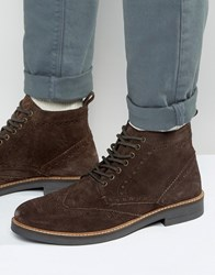 Frank Wright Suede Brogue Boots In Brown Brown