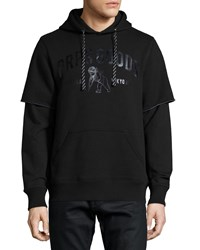 Prps Logo Front Brushed Terry Knit Hoodie Black