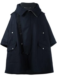 Diesel Black Gold Dislocated Fastening Oversized Coat Blue