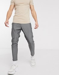 Only And Sons Tapered Cropped Fit Pin Stripe Trousers In Dark Grey
