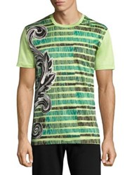 Versace Sketched Baroq Cotton T Shirt Mint