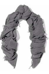 Chan Luu Fringe Trimmed Cashmere And Silk Blend Gauze Scarf Anthracite