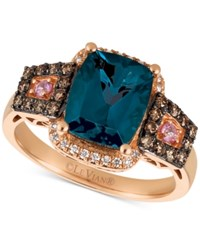 Le Vian Chocolatier Blue Topaz 3 Ct. T.W. Diamond 3 8 Ct. T.W. And Pink Sapphire Accent Ring In 14K Rose Gold