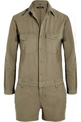 J Brand Avery Brushed Cotton Twill Playsuit Army Green